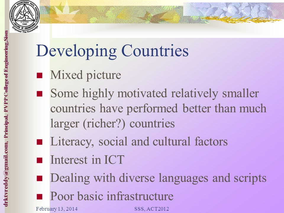 College of ineering,Sion drktvreddy@gmail.com, Principal, PVPP College of Engineering,Sion Background Relationship between telephony and economic deve