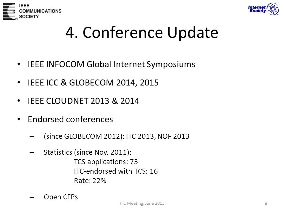 4. Conference Update IEEE INFOCOM Global Internet Symposiums IEEE ICC & GLOBECOM 2014, 2015 IEEE CLOUDNET 2013 & 2014 Endorsed conferences – (since GL