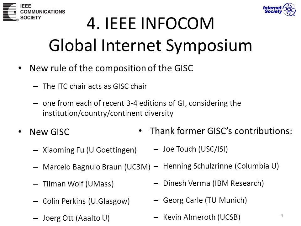 4. IEEE INFOCOM Global Internet Symposium New rule of the composition of the GISC – The ITC chair acts as GISC chair – one from each of recent 3-4 edi