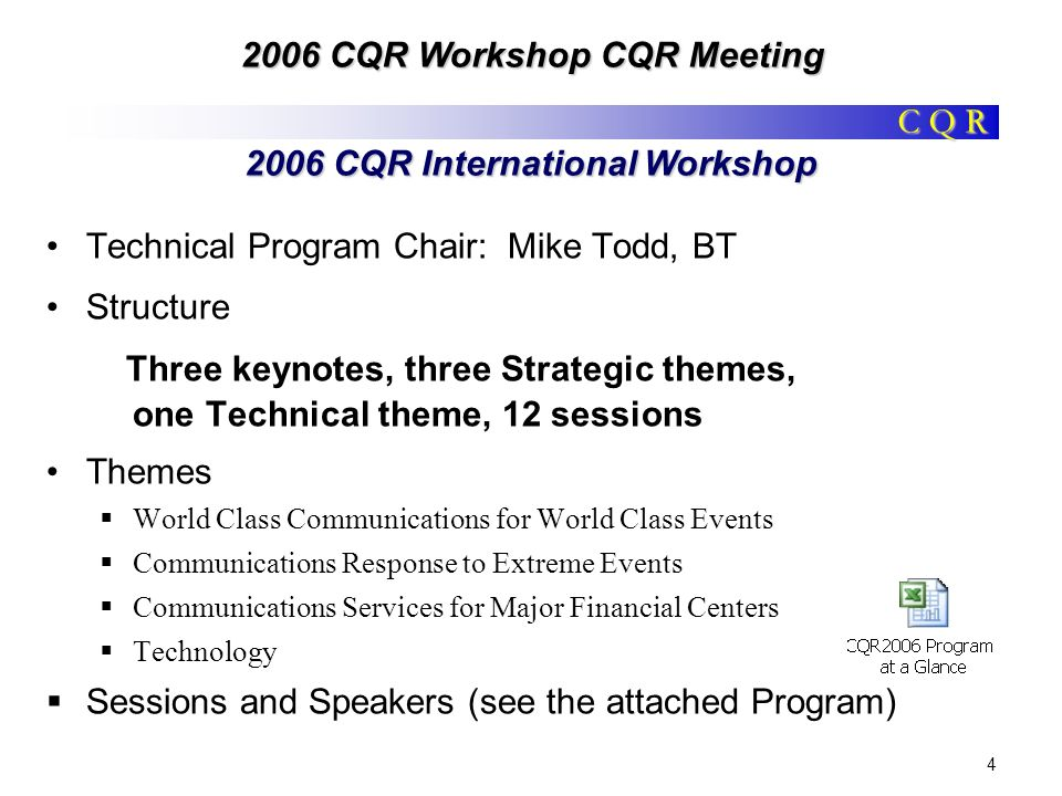 C Q R 2006 CQR Workshop CQR Meeting 4 2006 CQR International Workshop Technical Program Chair: Mike Todd, BT Structure Three keynotes, three Strategic