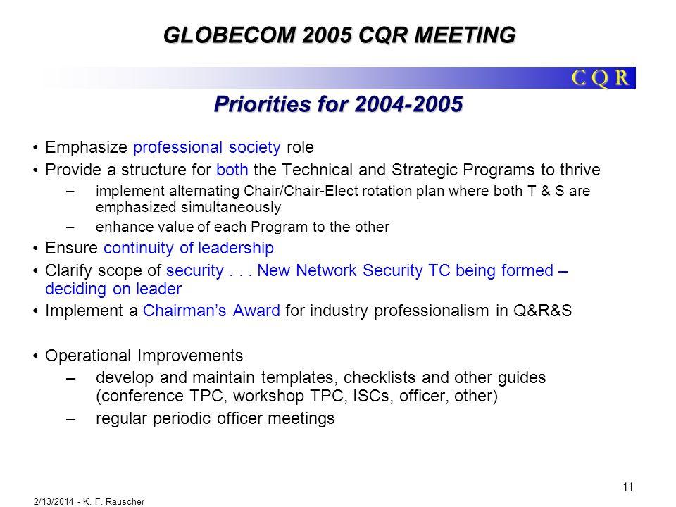 GLOBECOM 2005 CQR MEETING 2/13/2014 - K. F.
