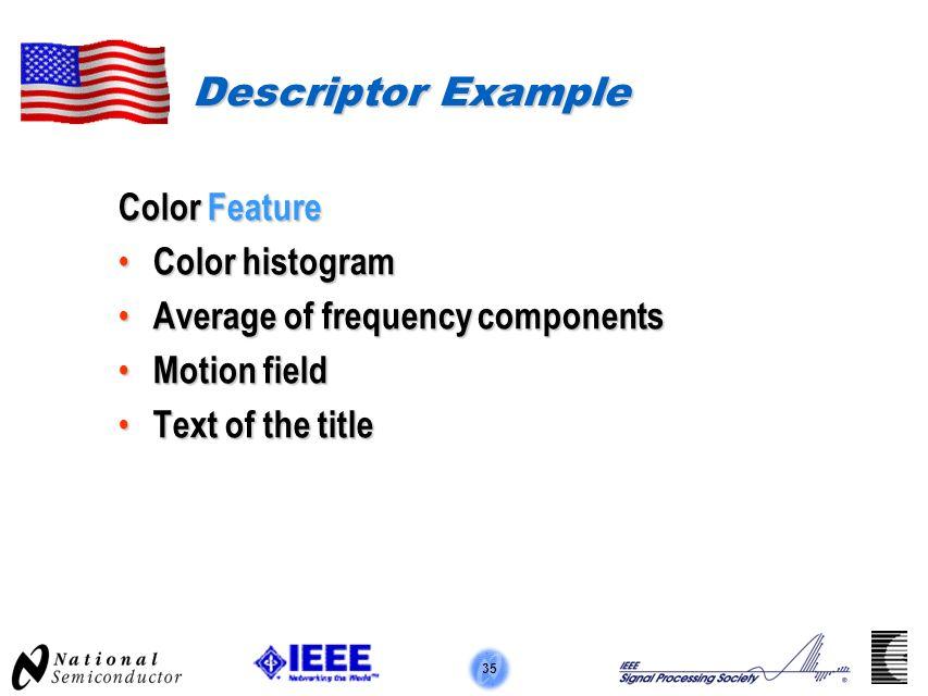 35 Descriptor Example Color Feature Color histogram Color histogram Average of frequency components Average of frequency components Motion field Motio