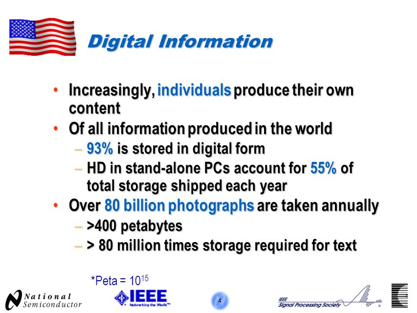 4 Digital Information Increasingly, individuals produce their own content Increasingly, individuals produce their own content Of all information produced in the world Of all information produced in the world – 93% is stored in digital form – HD in stand-alone PCs account for 55% of total storage shipped each year Over 80 billion photographs are taken annually Over 80 billion photographs are taken annually – >400 petabytes – > 80 million times storage required for text *Peta = 10 15