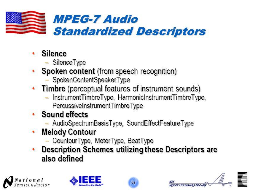 58 MPEG-7 Audio Standardized Descriptors Silence Silence –SilenceType Spoken content (from speech recognition) Spoken content (from speech recognition