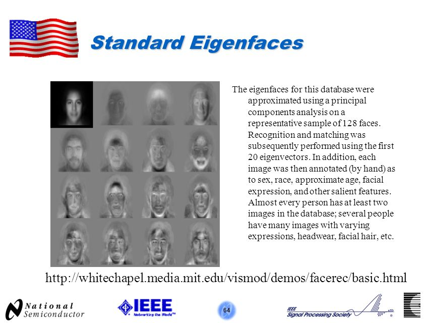 64 Standard Eigenfaces The eigenfaces for this database were approximated using a principal components analysis on a representative sample of 128 faces.