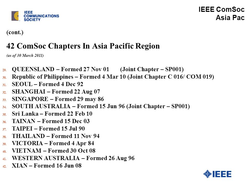 (cont.) 42 ComSoc Chapters In Asia Pacific Region (as of 30 March 2011) IEEE ComSoc Asia Pac 29.