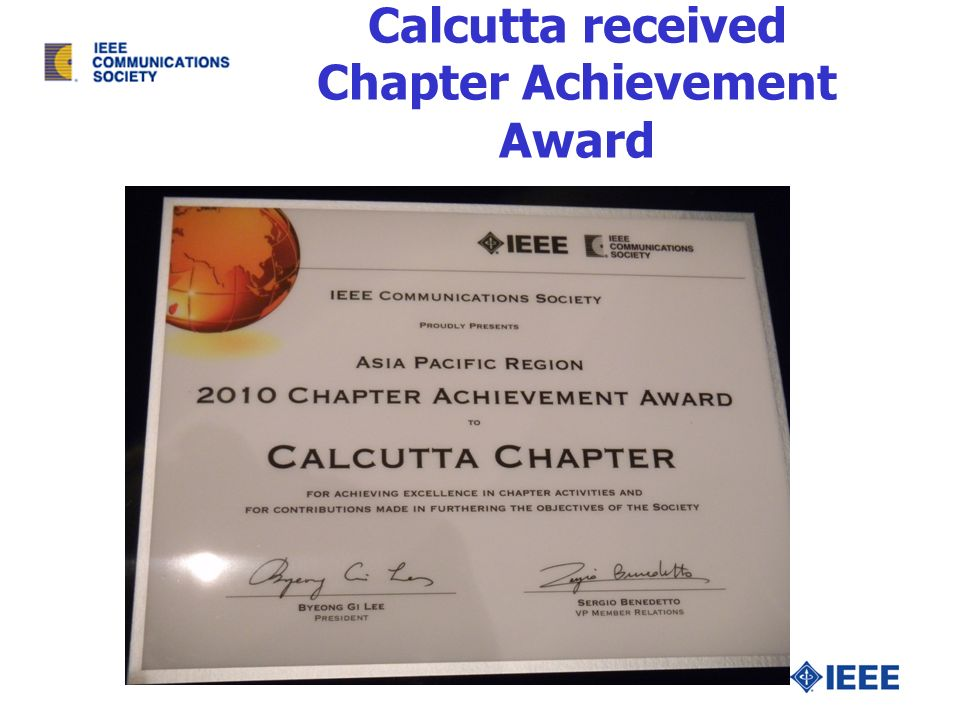 Calcutta received Chapter Achievement Award