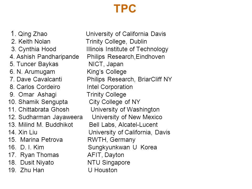 TPC 1. Qing Zhao University of California Davis 2. Keith Nolan Trinity College, Dublin 3. Cynthia Hood Illinois Institute of Technology 4. Ashish Pand