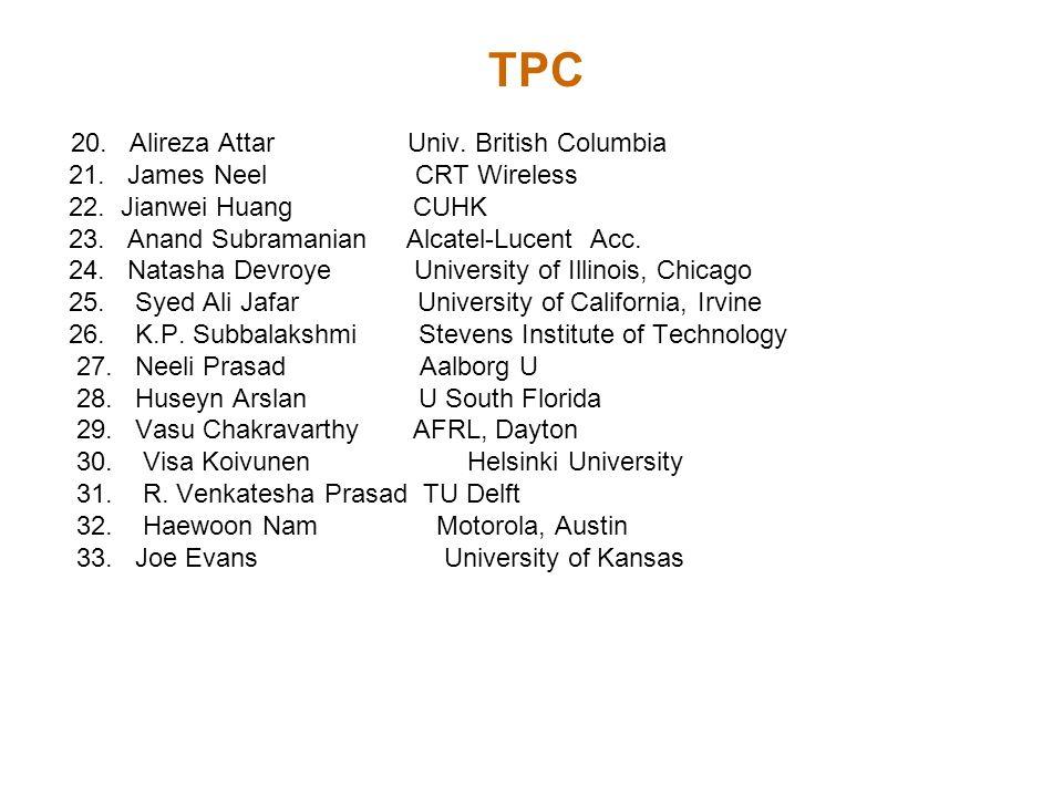 TPC 20. Alireza Attar Univ. British Columbia 21. James Neel CRT Wireless 22. Jianwei Huang CUHK 23. Anand Subramanian Alcatel-Lucent Acc. 24. Natasha