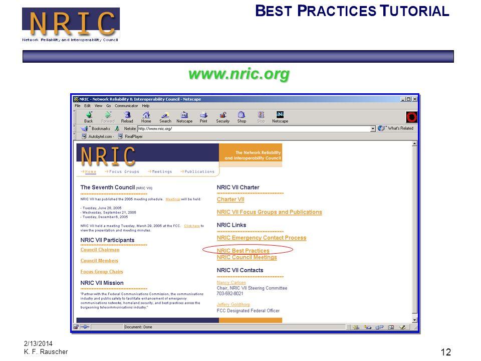 B EST P RACTICES T UTORIAL 2/13/2014 K. F. Rauscher 12 www.nric.org