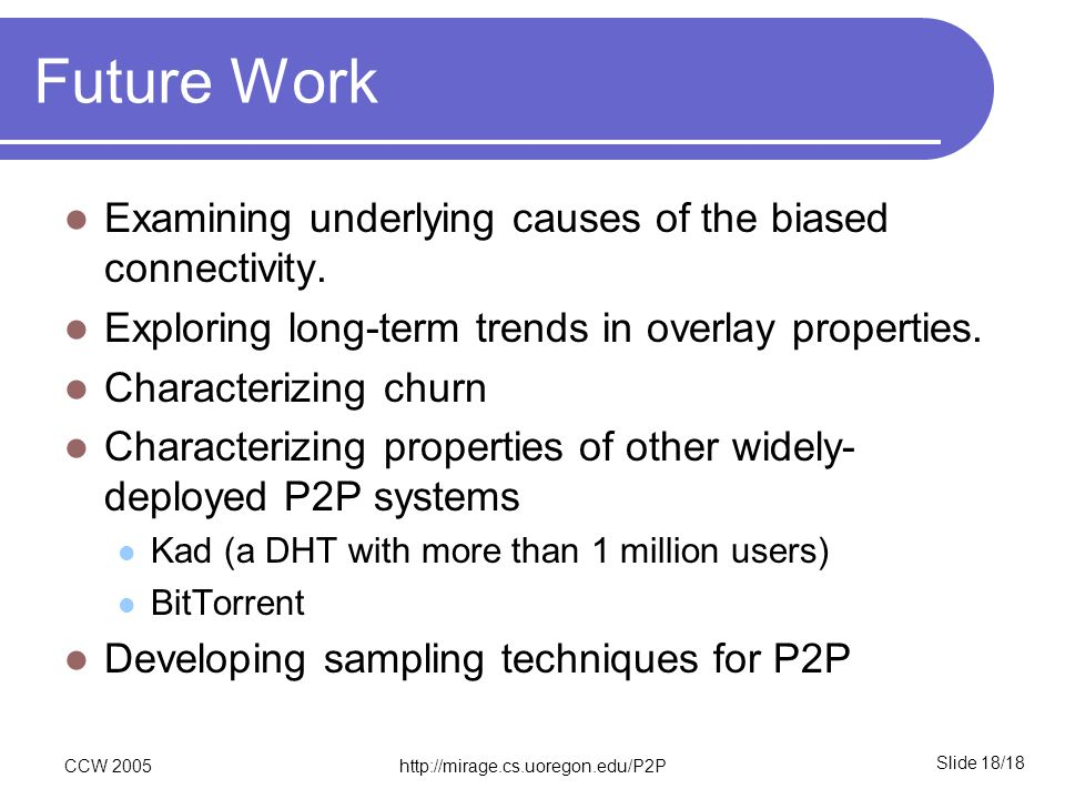 Slide 18/18 CCW 2005http://mirage.cs.uoregon.edu/P2P Future Work Examining underlying causes of the biased connectivity. Exploring long-term trends in