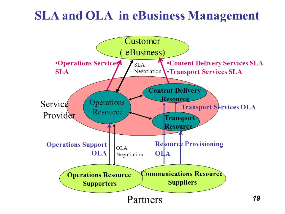 19 SLA and OLA in eBusiness Management Customer ( eBusiness) Partners Transport Resource Content Delivery Services SLA Transport Services SLA Operatio