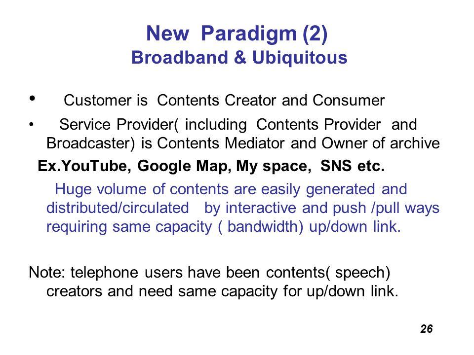 26 New Paradigm (2) Broadband & Ubiquitous Customer is Contents Creator and Consumer Service Provider( including Contents Provider and Broadcaster) is
