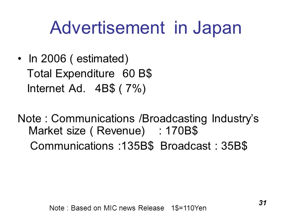 31 Advertisement in Japan In 2006 ( estimated) Total Expenditure 60 B$ Internet Ad. 4B$ ( 7%) Note : Communications /Broadcasting Industrys Market siz