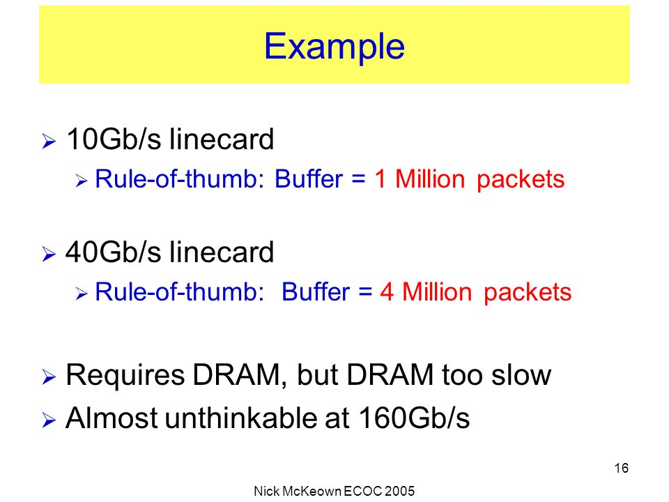 Nick McKeown ECOC 2005 16 Example 10Gb/s linecard Rule-of-thumb: Buffer = 1 Million packets 40Gb/s linecard Rule-of-thumb: Buffer = 4 Million packets