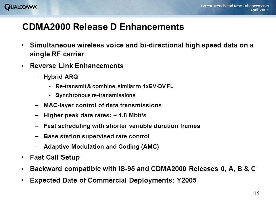 Latest Trends and New Enhancements April 2004 15 CDMA2000 Release D Enhancements Simultaneous wireless voice and bi-directional high speed data on a s