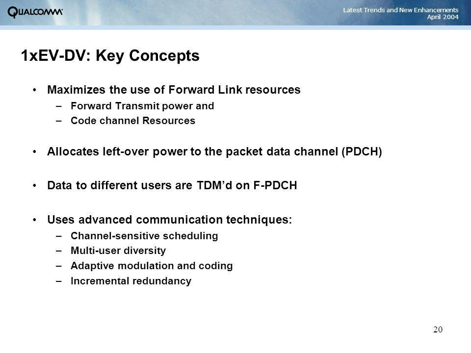Latest Trends and New Enhancements April 2004 20 1xEV-DV: Key Concepts Maximizes the use of Forward Link resources –Forward Transmit power and –Code c