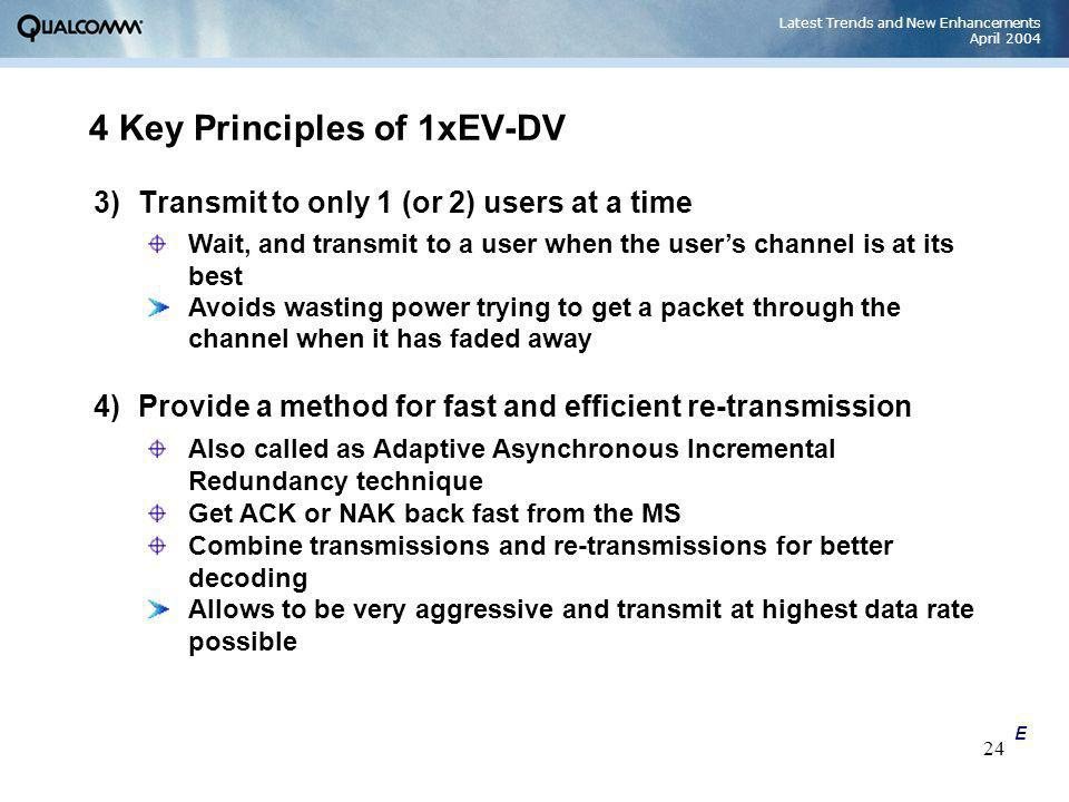 Latest Trends and New Enhancements April 2004 24 4 Key Principles of 1xEV-DV 3)Transmit to only 1 (or 2) users at a time Wait, and transmit to a user
