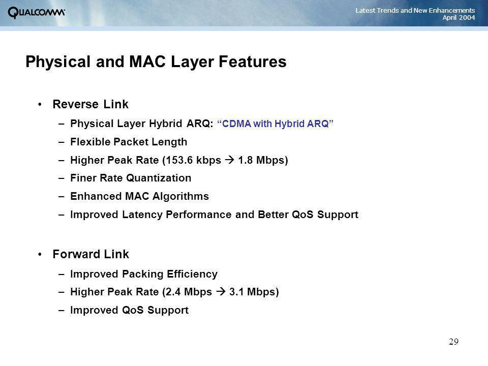 Latest Trends and New Enhancements April 2004 29 Physical and MAC Layer Features Reverse Link –Physical Layer Hybrid ARQ: CDMA with Hybrid ARQ –Flexib