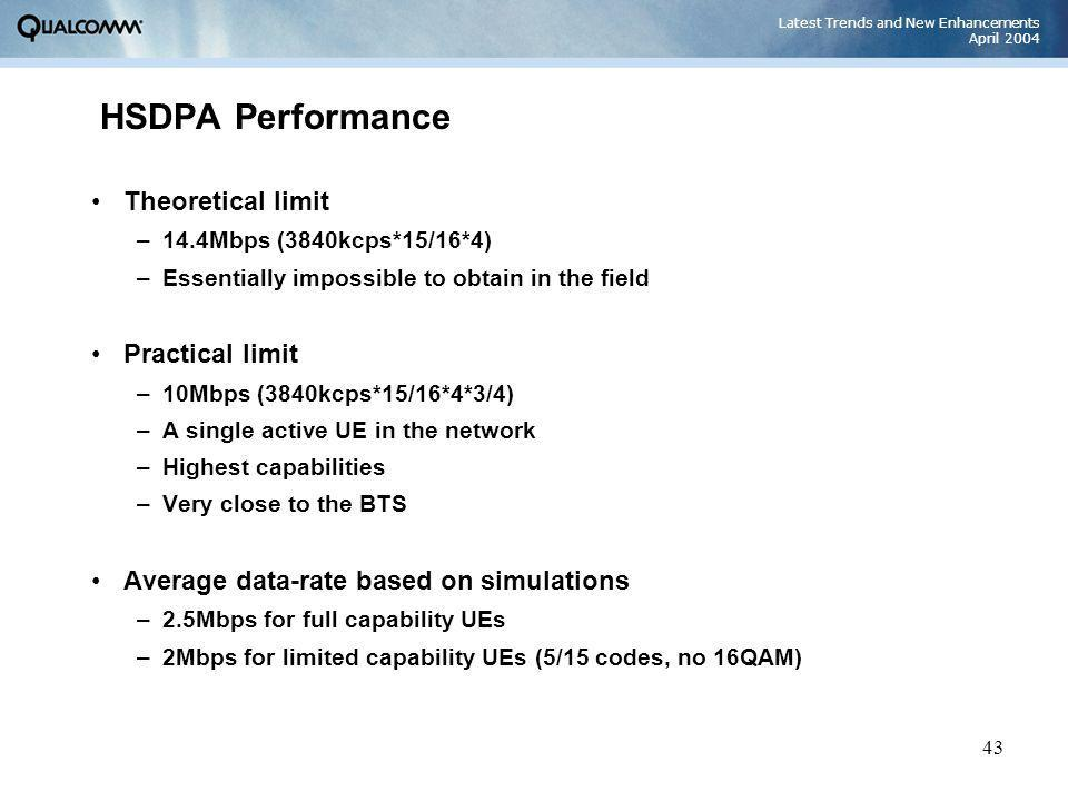 Latest Trends and New Enhancements April 2004 43 HSDPA Performance Theoretical limit –14.4Mbps (3840kcps*15/16*4) –Essentially impossible to obtain in