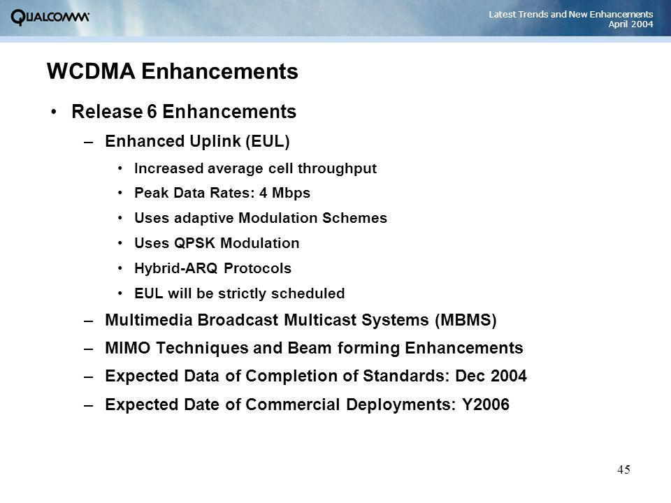Latest Trends and New Enhancements April 2004 45 WCDMA Enhancements Release 6 Enhancements –Enhanced Uplink (EUL) Increased average cell throughput Pe