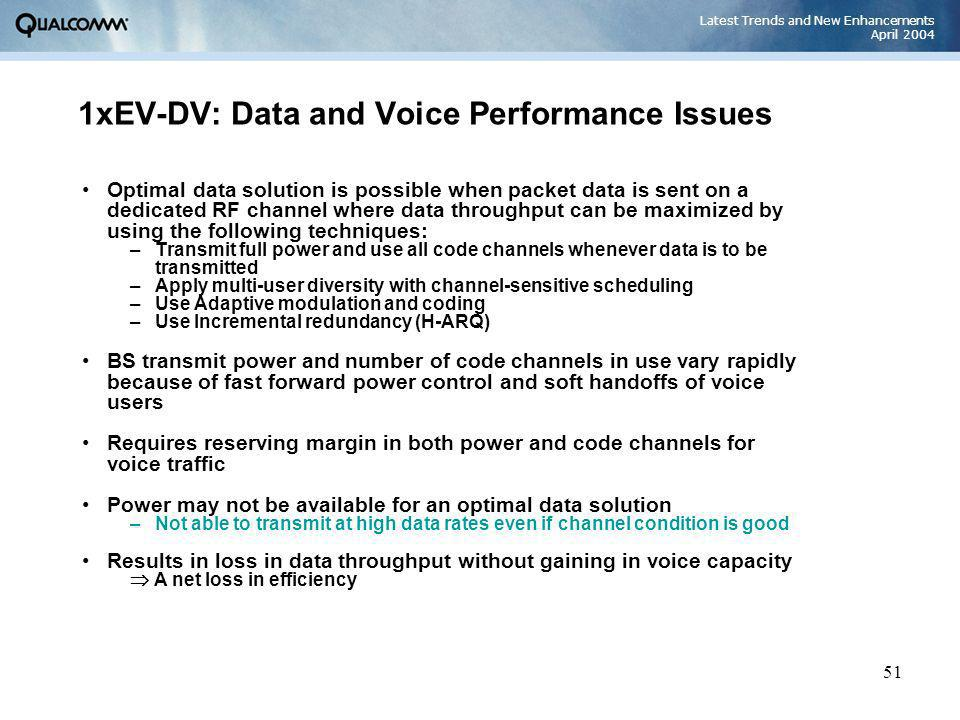 Latest Trends and New Enhancements April 2004 51 1xEV-DV: Data and Voice Performance Issues Optimal data solution is possible when packet data is sent