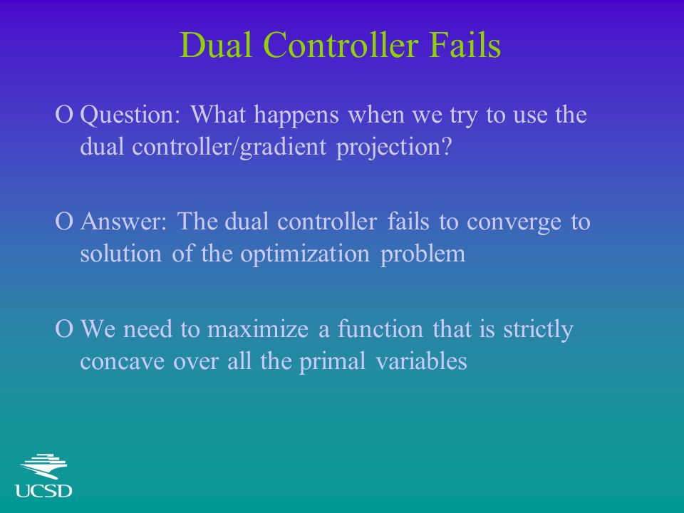 Dual Controller Fails OQuestion: What happens when we try to use the dual controller/gradient projection? OAnswer: The dual controller fails to conver