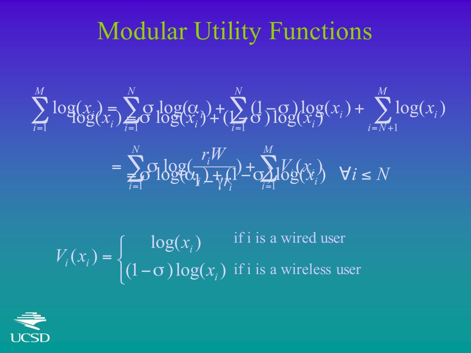 Modular Utility Functions if i is a wired user if i is a wireless user