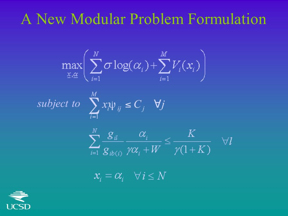 A New Modular Problem Formulation subject to