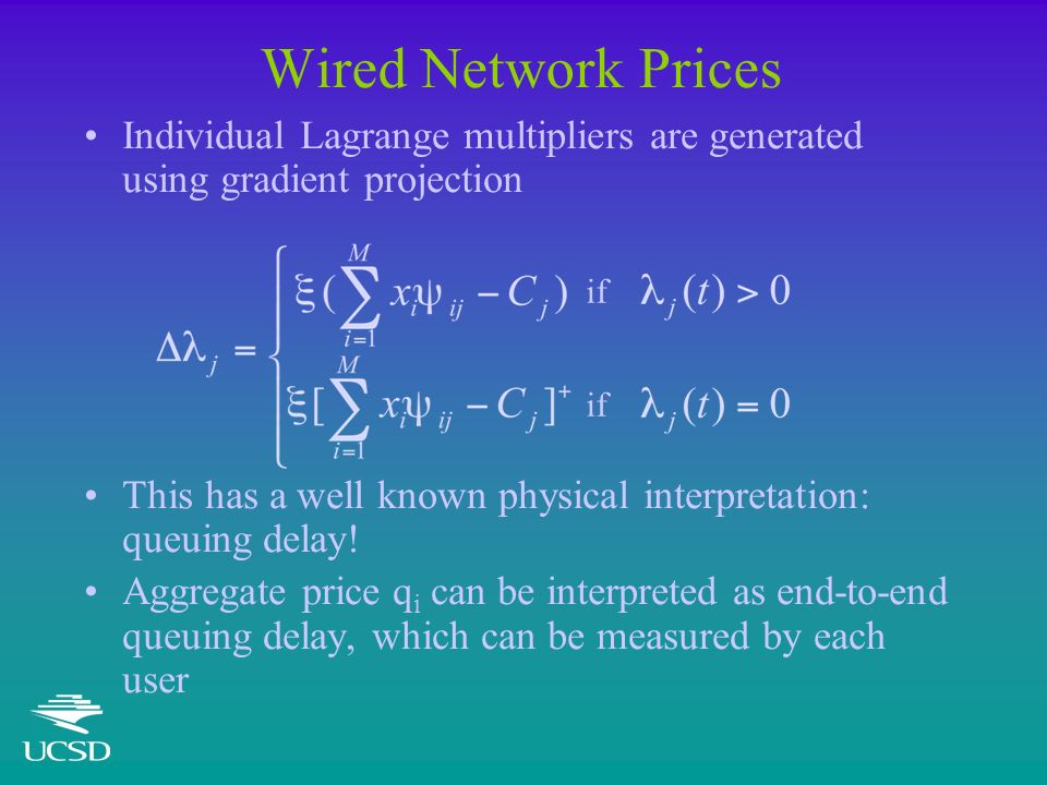 Wired Network Prices Individual Lagrange multipliers are generated using gradient projection This has a well known physical interpretation: queuing delay.