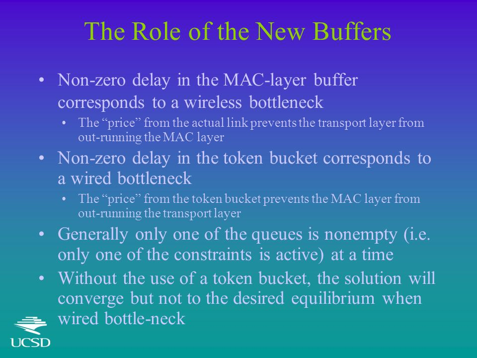 The Role of the New Buffers Non-zero delay in the MAC-layer buffer corresponds to a wireless bottleneck The price from the actual link prevents the tr