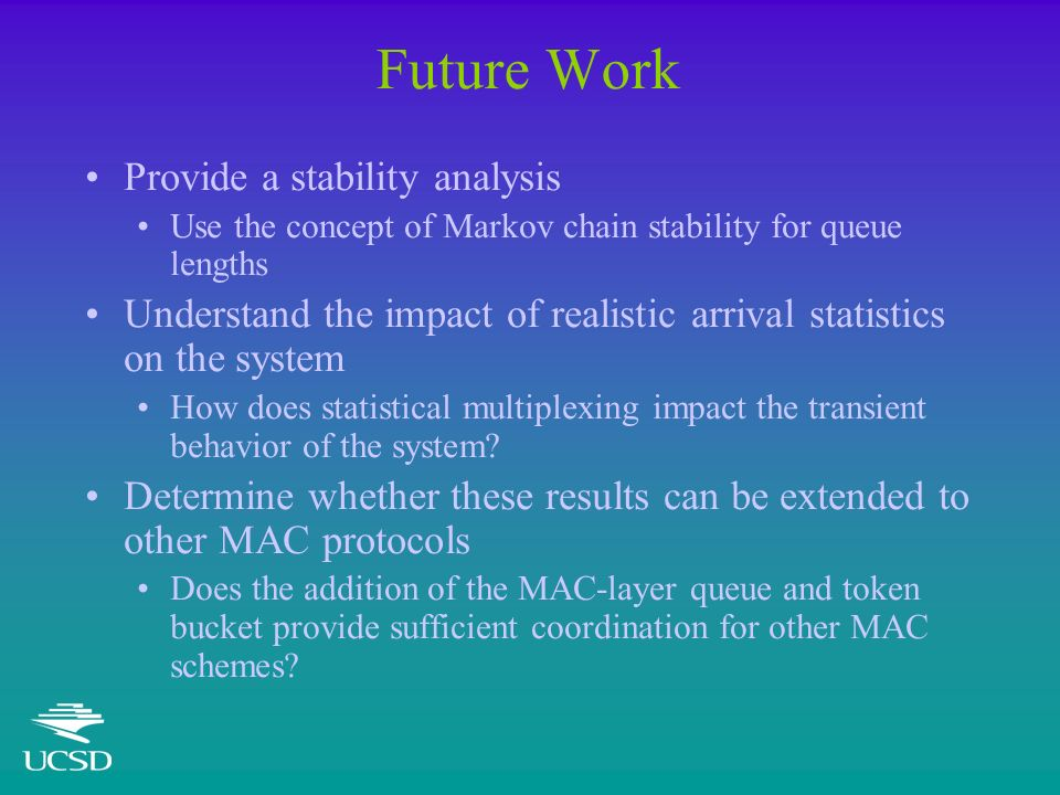 Future Work Provide a stability analysis Use the concept of Markov chain stability for queue lengths Understand the impact of realistic arrival statistics on the system How does statistical multiplexing impact the transient behavior of the system.