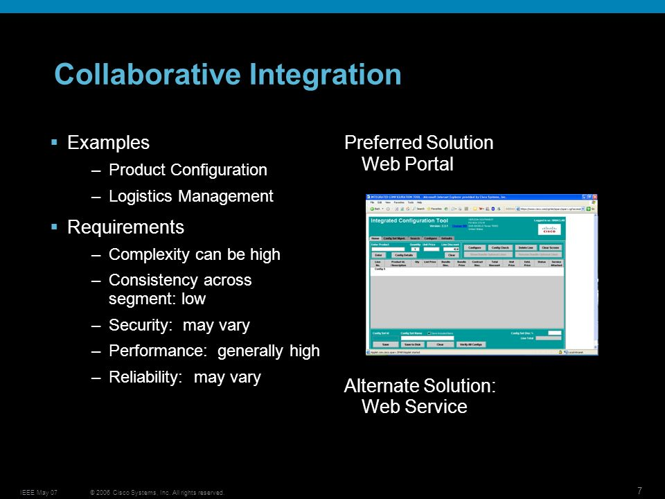 © 2006 Cisco Systems, Inc. All rights reserved.IEEE May 07 7 Collaborative Integration Examples –Product Configuration –Logistics Management Requireme