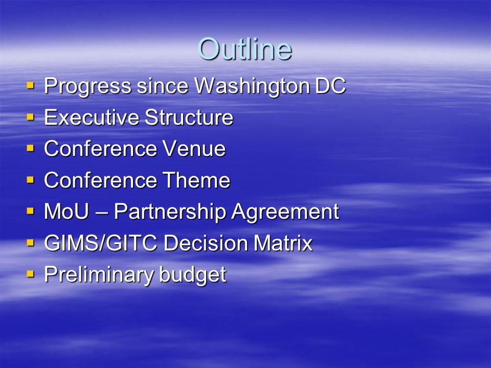 Outline Progress since Washington DC Progress since Washington DC Executive Structure Executive Structure Conference Venue Conference Venue Conference