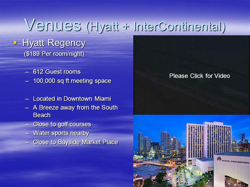 Venues (Hyatt + InterContinental) Hyatt Regency Hyatt Regency ($189 Per room/night) ($189 Per room/night) –612 Guest rooms –100,000 sq ft meeting spac