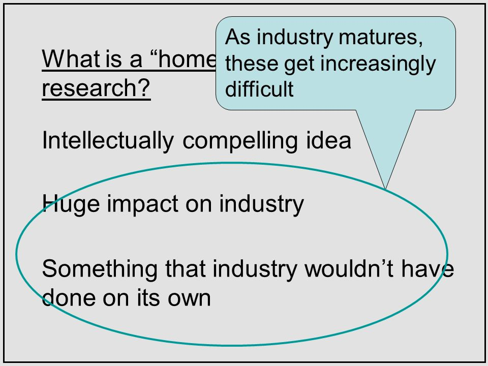 What is a home run in systems research? Huge impact on industry Intellectually compelling idea Something that industry wouldnt have done on its own As