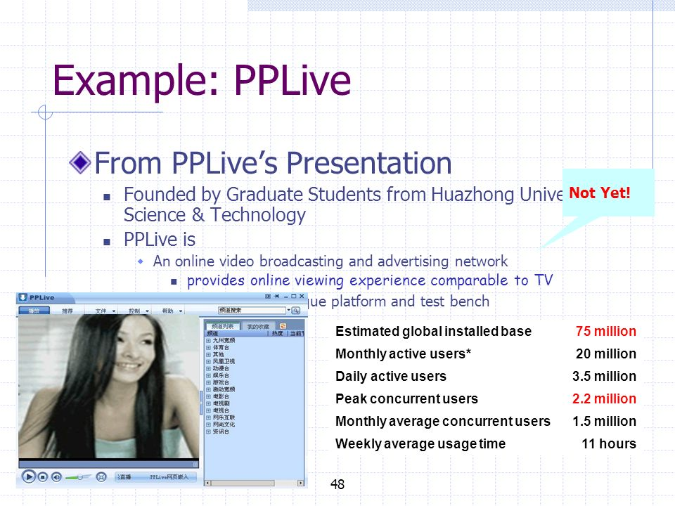 Example: PPLive From PPLives Presentation Founded by Graduate Students from Huazhong University of Science & Technology PPLive is An online video broadcasting and advertising network provides online viewing experience comparable to TV An efficient P2P technique platform and test bench 48 Estimated global installed base75 million Monthly active users*20 million Daily active users3.5 million Peak concurrent users2.2 million Monthly average concurrent users1.5 million Weekly average usage time11 hours Not Yet!