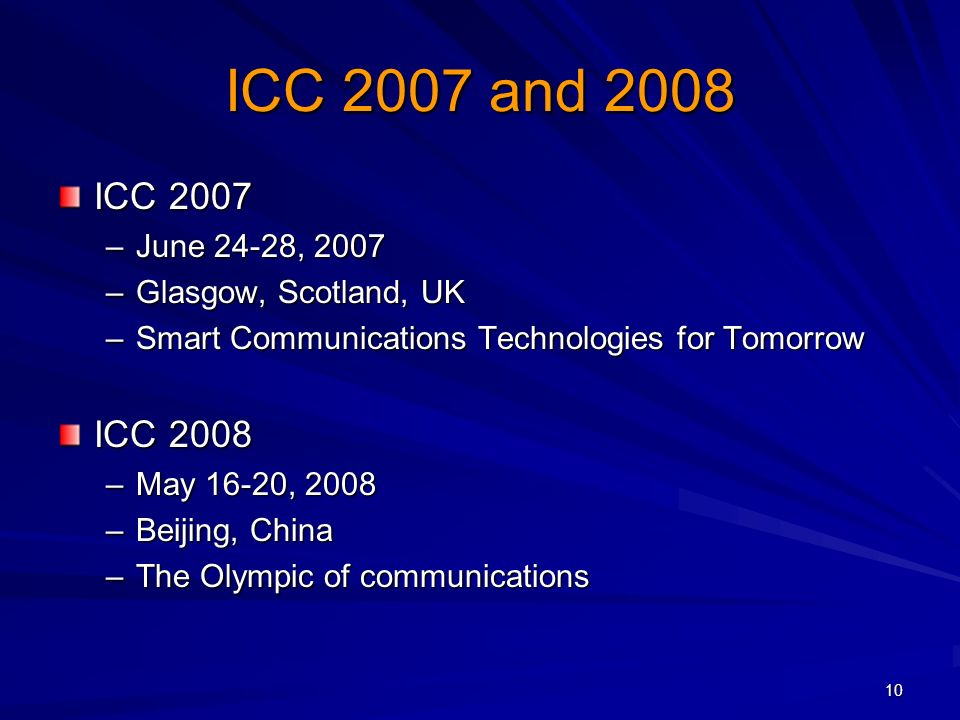 10 ICC 2007 and 2008 ICC 2007 –June 24-28, 2007 –Glasgow, Scotland, UK –Smart Communications Technologies for Tomorrow ICC 2008 –May 16-20, 2008 –Beijing, China –The Olympic of communications