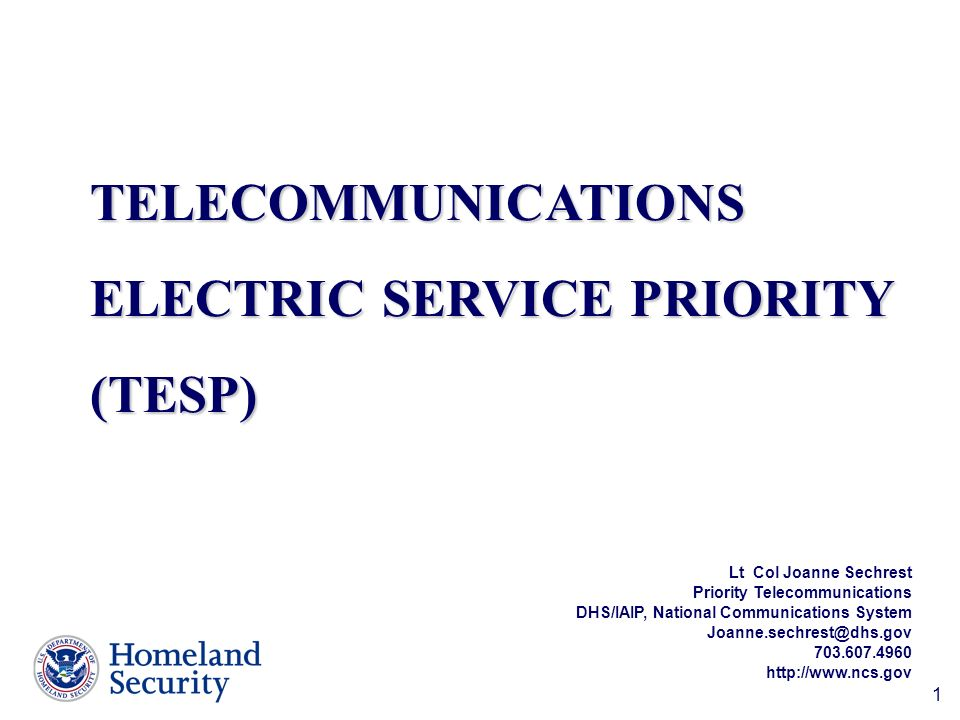 1 Lt Col Joanne Sechrest Priority Telecommunications DHS/IAIP, National Communications System Joanne.sechrest@dhs.gov 703.607.4960 http://www.ncs.gov TELECOMMUNICATIONS ELECTRIC SERVICE PRIORITY (TESP)