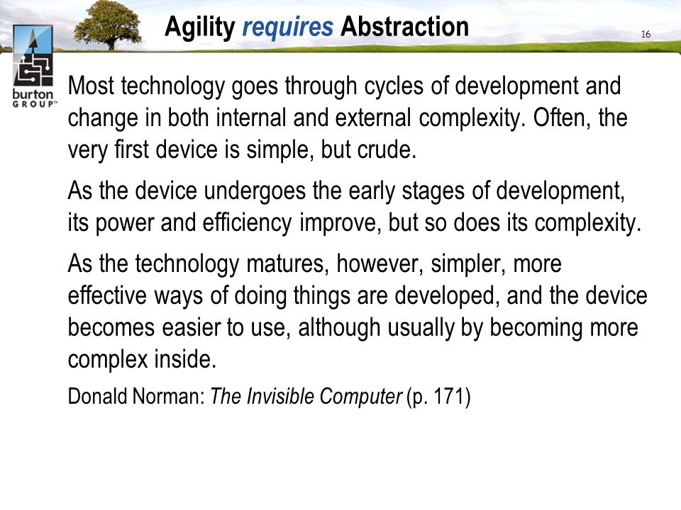 Agility requires Abstraction Most technology goes through cycles of development and change in both internal and external complexity. Often, the very f