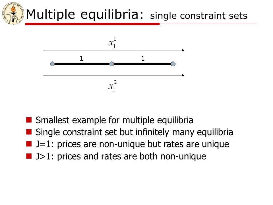 Multiple equilibria: single constraint sets 1 1 Smallest example for multiple equilibria Single constraint set but infinitely many equilibria J=1: prices are non-unique but rates are unique J>1: prices and rates are both non-unique