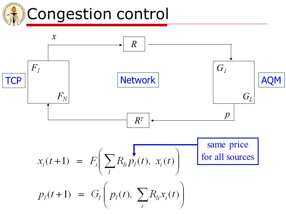 Congestion control F1F1 FNFN G1G1 GLGL R R T TCP Network AQM x y q p same price for all sources