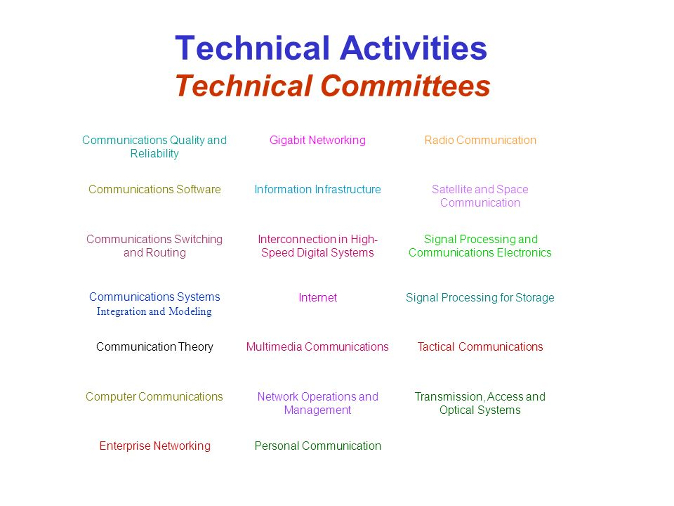 Technical Activities Technical Committees Communications Quality and Reliability Gigabit NetworkingRadio Communication Communications SoftwareInformat