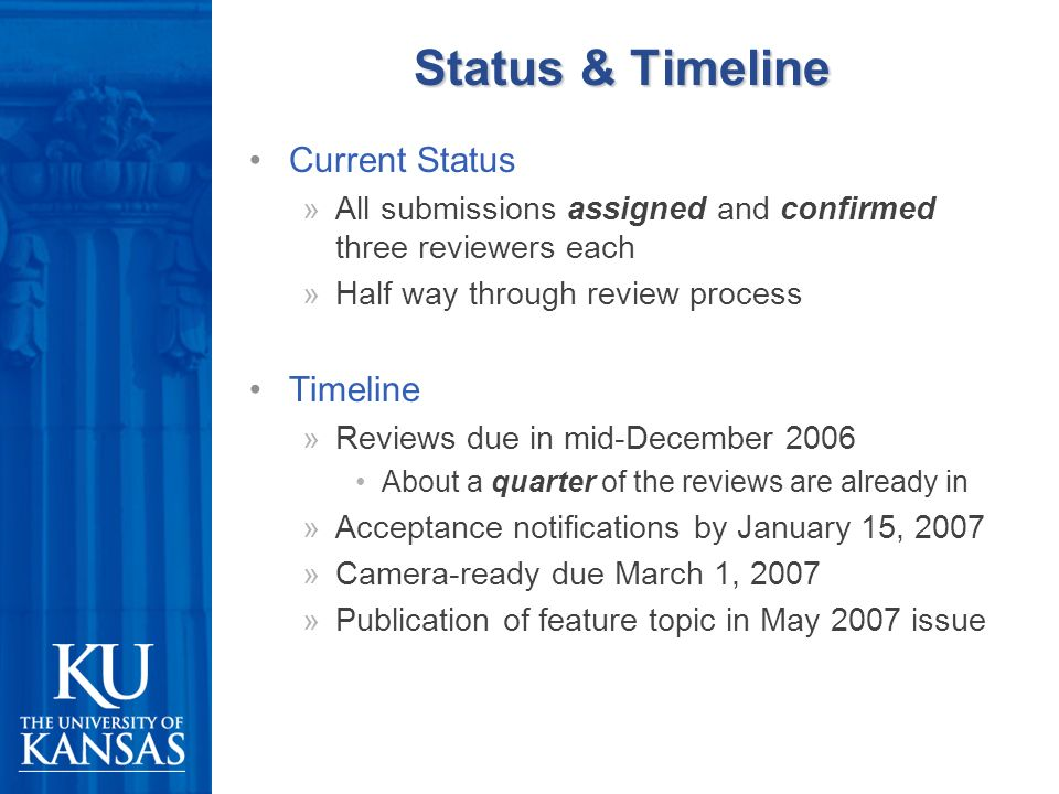 Status & Timeline Current Status »All submissions assigned and confirmed three reviewers each »Half way through review process Timeline »Reviews due in mid-December 2006 About a quarter of the reviews are already in »Acceptance notifications by January 15, 2007 »Camera-ready due March 1, 2007 »Publication of feature topic in May 2007 issue