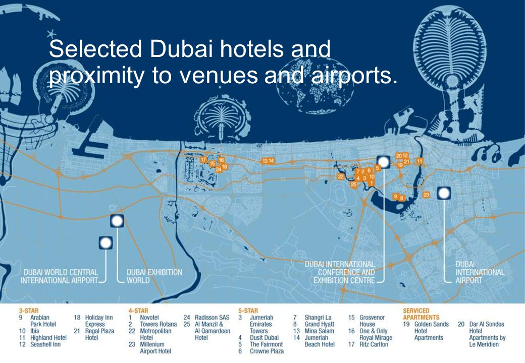 Selected Dubai hotels and proximity to venues and airports.