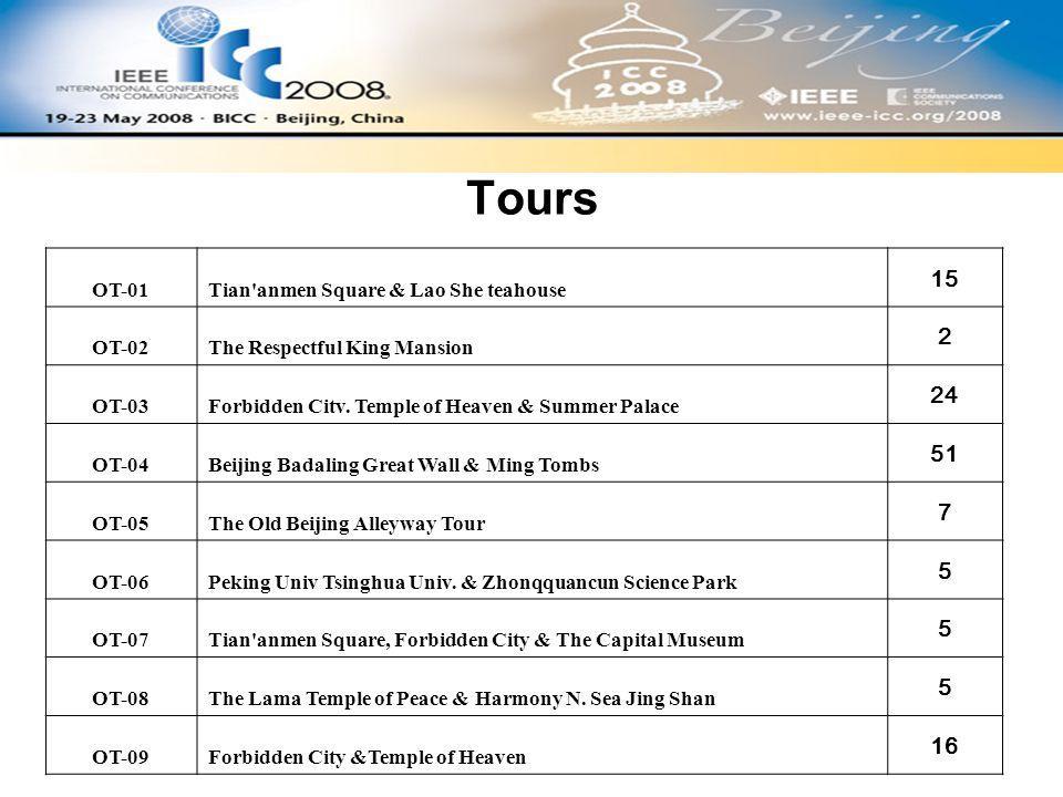 Tours OT-01Tian anmen Square & Lao She teahouse 15 OT-02The Respectful King Mansion 2 OT-03Forbidden Citv.