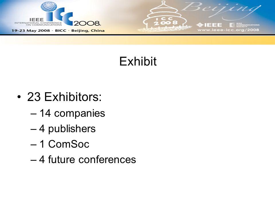 Exhibit 23 Exhibitors: –14 companies –4 publishers –1 ComSoc –4 future conferences