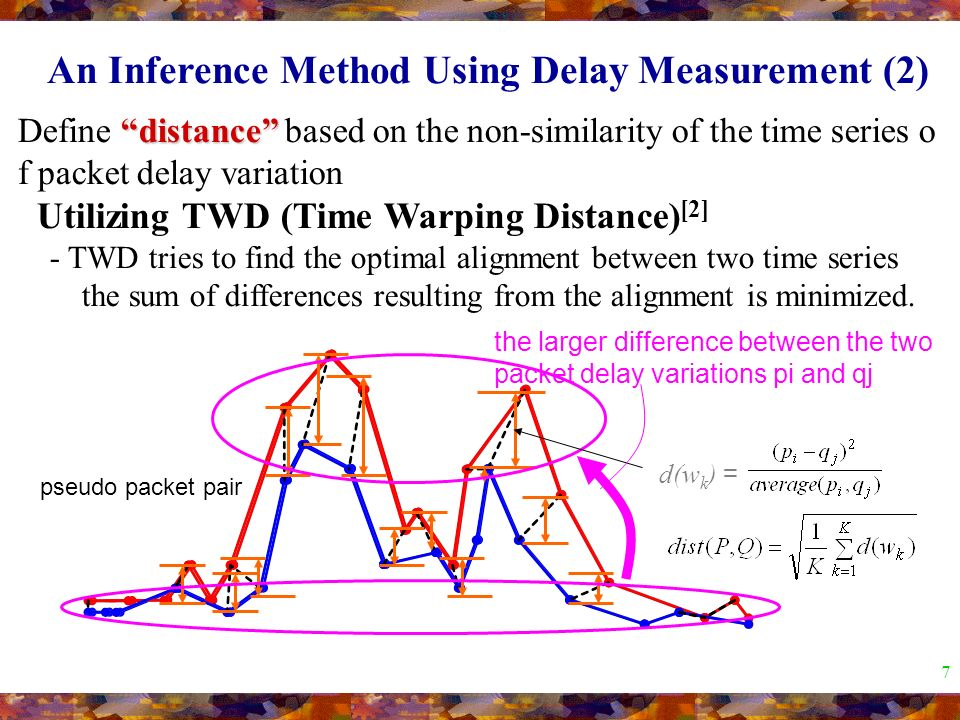 7 distance Define distance based on the non-similarity of the time series o f packet delay variation Utilizing TWD (Time Warping Distance) [2] - TWD tries to find the optimal alignment between two time series the sum of differences resulting from the alignment is minimized.