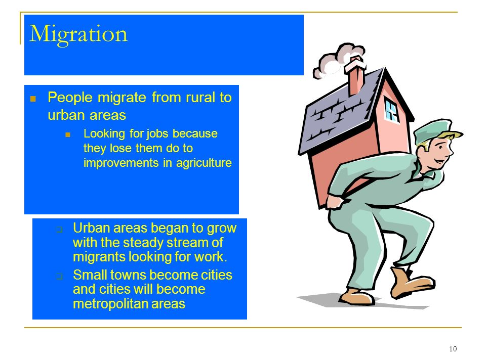 10 Migration People migrate from rural to urban areas Looking for jobs because they lose them do to improvements in agriculture Urban areas began to g