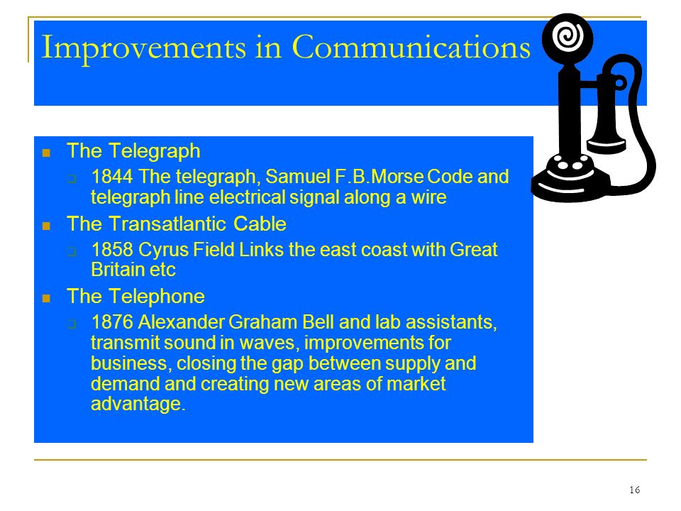 16 Improvements in Communications The Telegraph 1844 The telegraph, Samuel F.B.Morse Code and telegraph line electrical signal along a wire The Transa